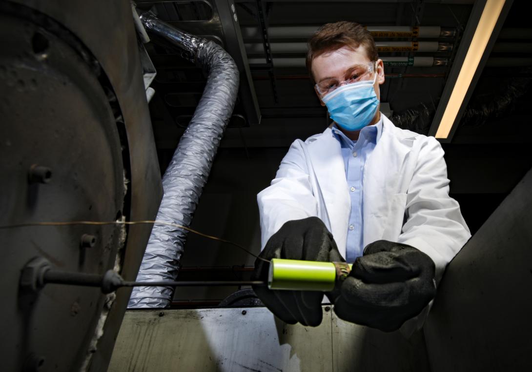 Samuel Plunkett works on lithium-ion battery technology