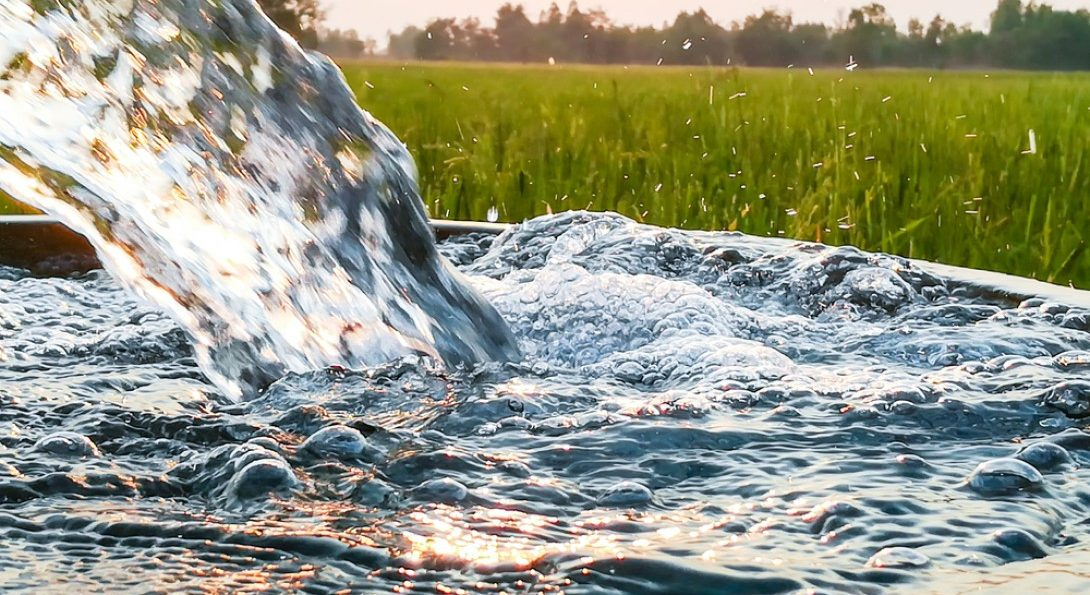 Water splashing in a fountain